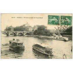 carte postale ancienne PARIS I°. Le Pont Neuf Ile de la Cité 1914. Bateau Mouche MAGGI
