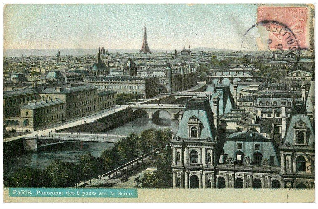 carte postale ancienne PARIS I°. Les 9 Ponts 1906