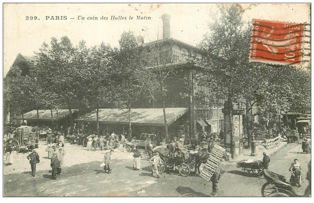 carte postale ancienne PARIS I°. Les Halles le Matin 1913