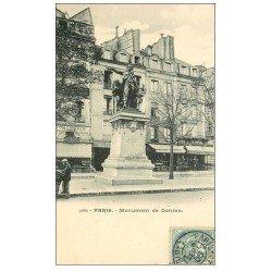 carte postale ancienne PARIS I°. Monument de Danton 1905 vendeur de journaux ambulant