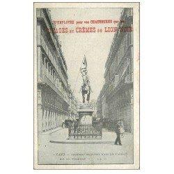 carte postale ancienne PARIS I°. Monument Jeanne d'Arc rue des Pyramides. Cirages du Lion Noir