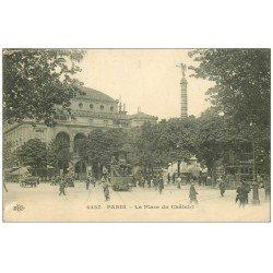 carte postale ancienne PARIS I°. Place du Chatelet Tramway à Impériale et à vapeur 1913