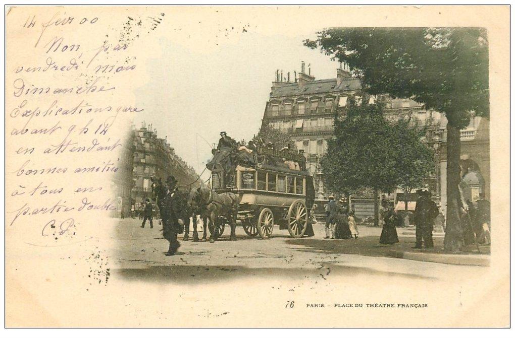 carte postale ancienne PARIS I°. Place du Théâtre Français Hippomobile à Impériale 1900