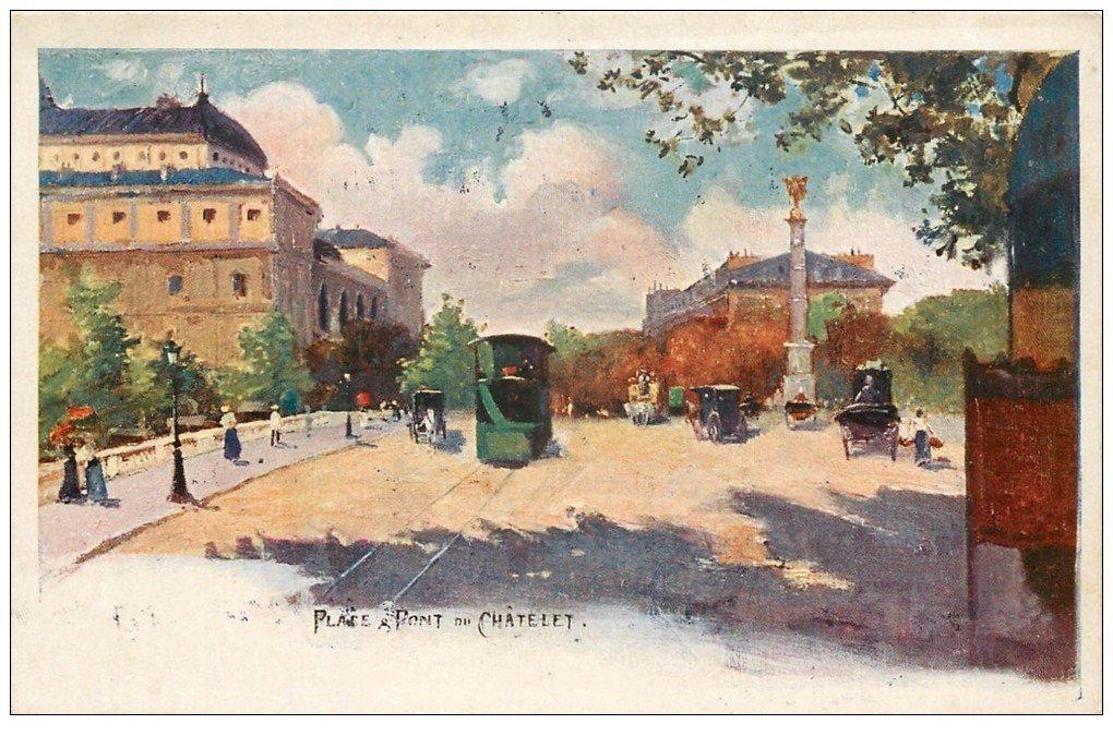 carte postale ancienne PARIS I°. Place et Pont du Chatelet 1923