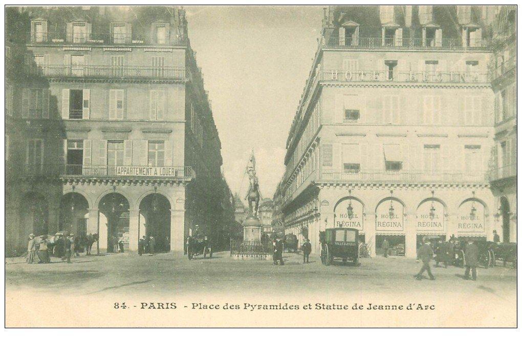 carte postale ancienne PARIS I°. Place Pyramides Statue Jeanne d'Arc Hôtel Regina