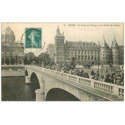 carte postale ancienne PARIS I°. Pont au Change et Palais de Justice 1911