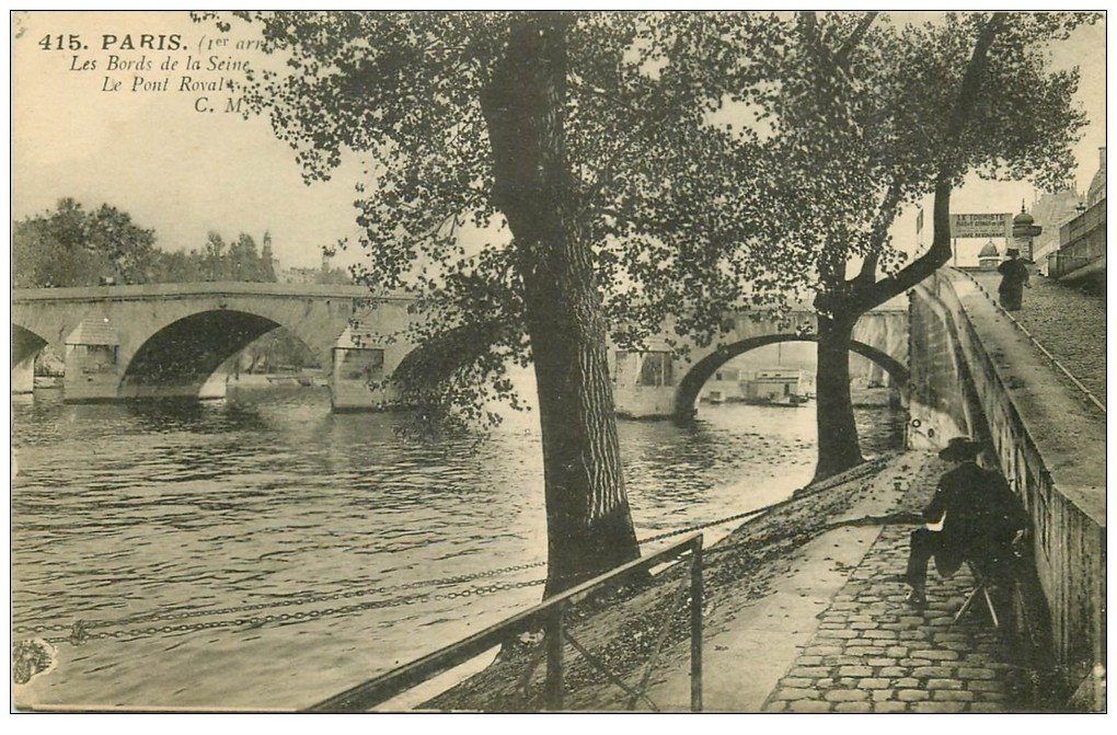 carte postale ancienne PARIS I°. Pont Royal et bords de Seine 1929