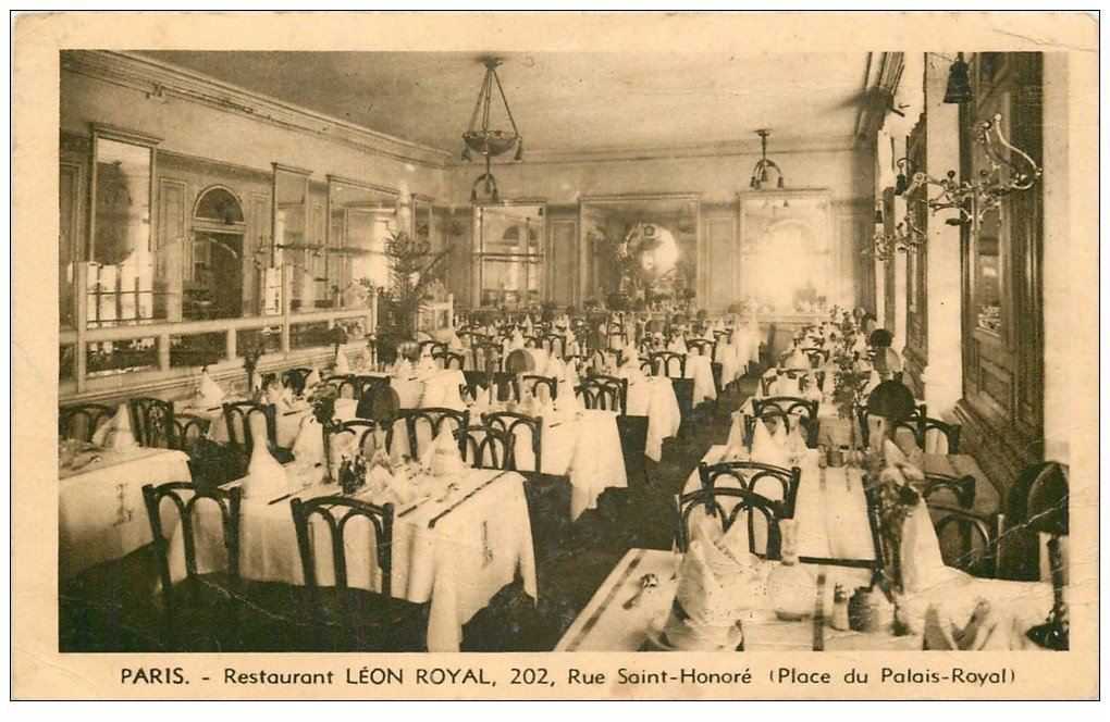 carte postale ancienne PARIS I°. Restaurant Léon Royal 202 rue Saint-Honoré