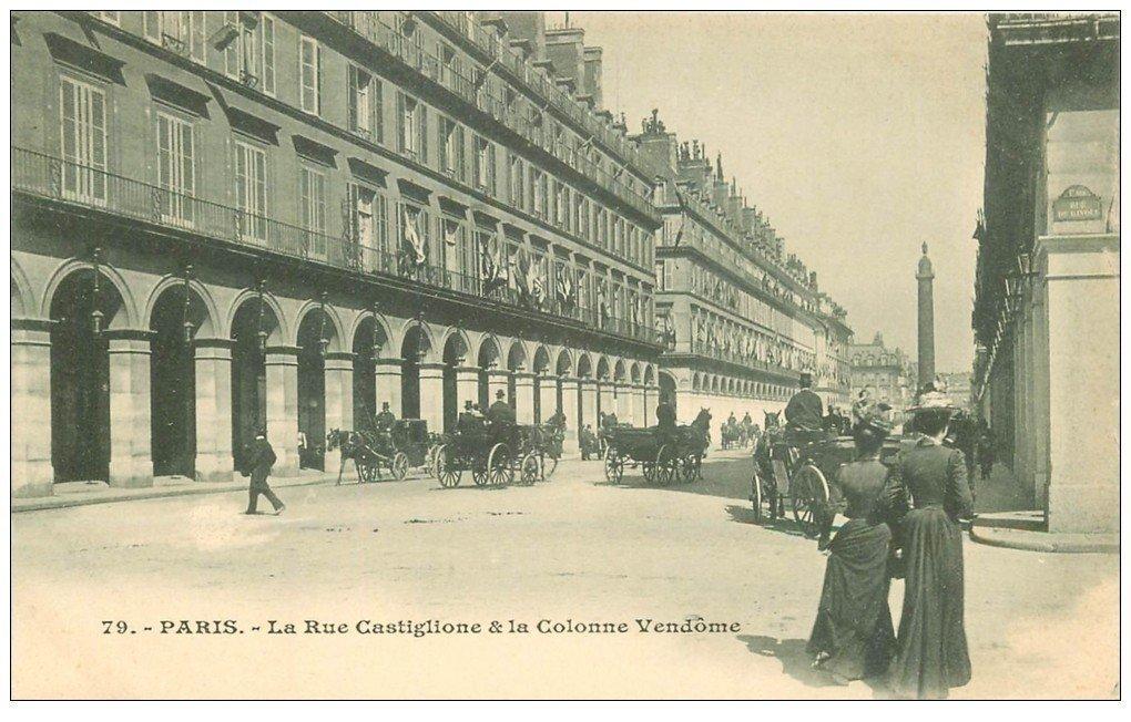 carte postale ancienne PARIS I°. Rue Castiglione et Colonne Vendôme vers 1900