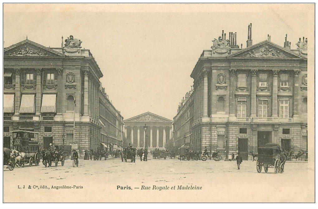 carte postale ancienne PARIS I°. Rue Royale et Madeleine Hippomobile à Impériale