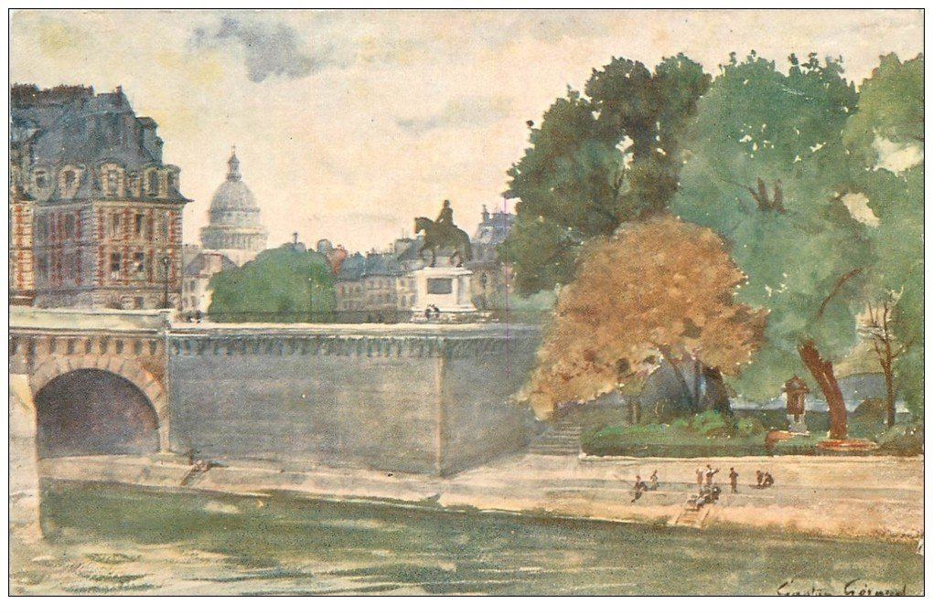 carte postale ancienne PARIS I°. Square du Vert-Galant par Gaston Gérard. Grands magasins du Printemps...