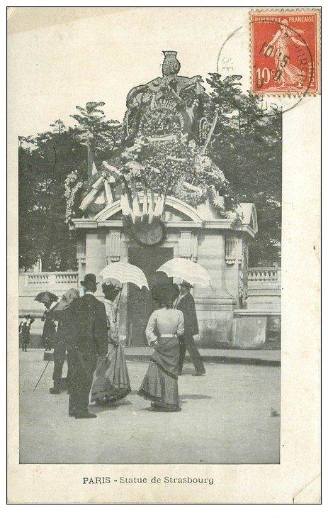 carte postale ancienne PARIS I°. Statue de Strasbourg 1906