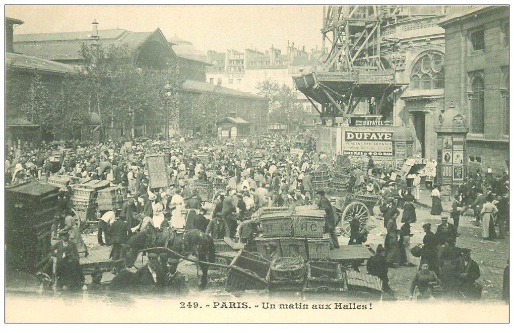 carte postale ancienne PARIS I°. Un matin aux Halles