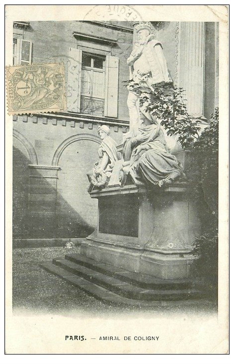 PARIS 01. Amiral Coligny. Timbre 1 centime 1903