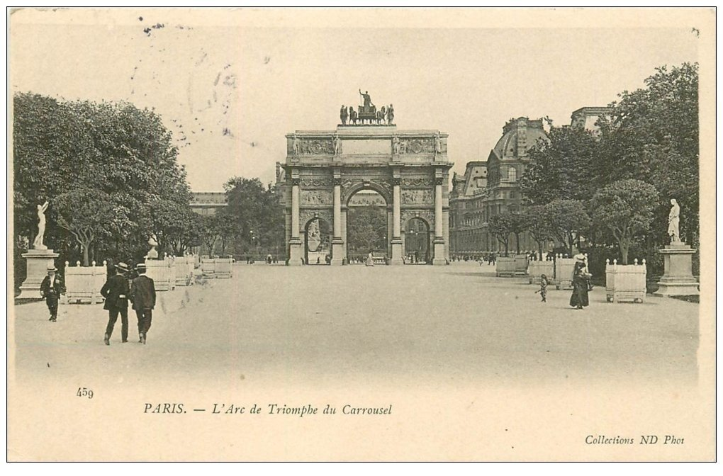 carte postale ancienne PARIS Ier. Carrousel Arc Triomphe 1906