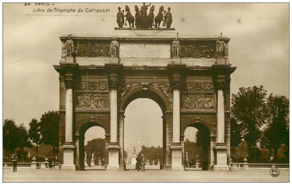 carte postale ancienne PARIS Ier. Carrousel Arc Triomphe 1930. Camion Scemia rue Tronchet