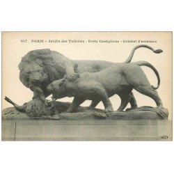 carte postale ancienne PARIS Ier. Combat d'animaux Porte Castiglione Jardin Tuileries