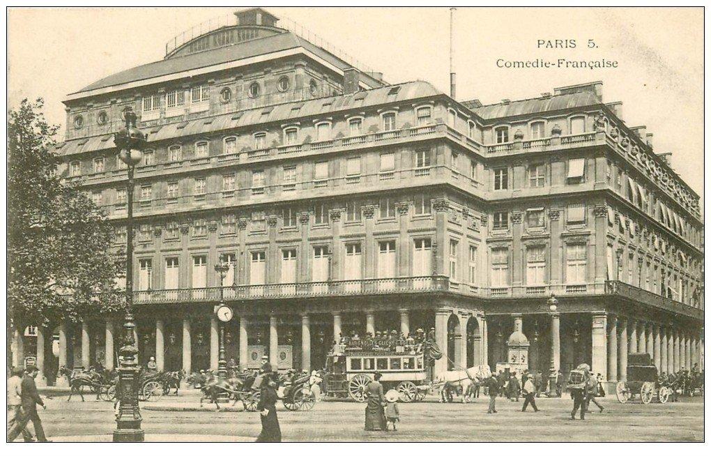 carte postale ancienne PARIS Ier. Comédie Française Hippomobile à Impériale