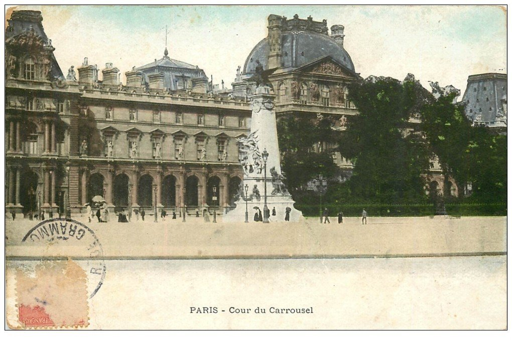 carte postale ancienne PARIS Ier. Cour du Carrousel 1907