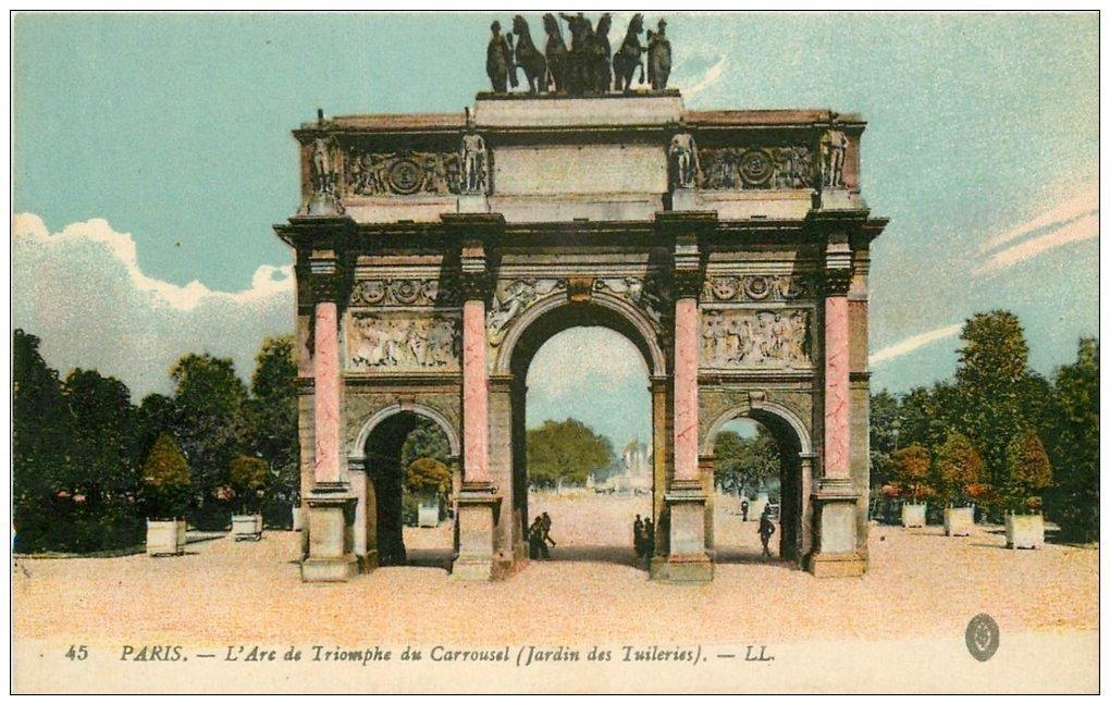 carte postale ancienne PARIS Ier. Cour du Carrousel 1918 Arc Triomphe