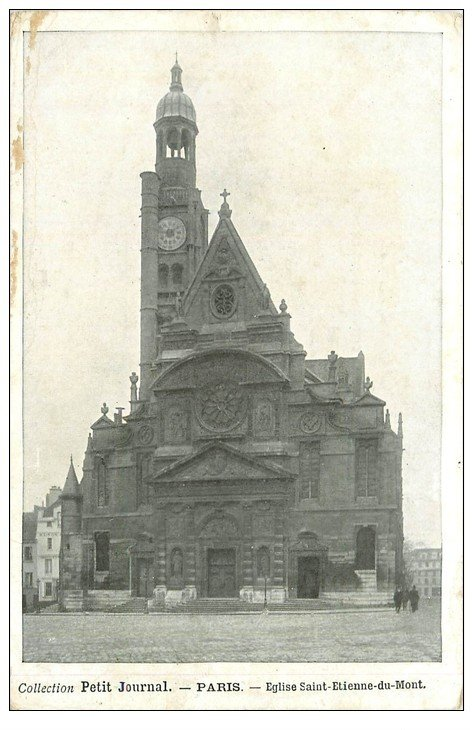 carte postale ancienne PARIS Ier. Eglise Saint-Etienne-du-Mont. Le Petit Journal