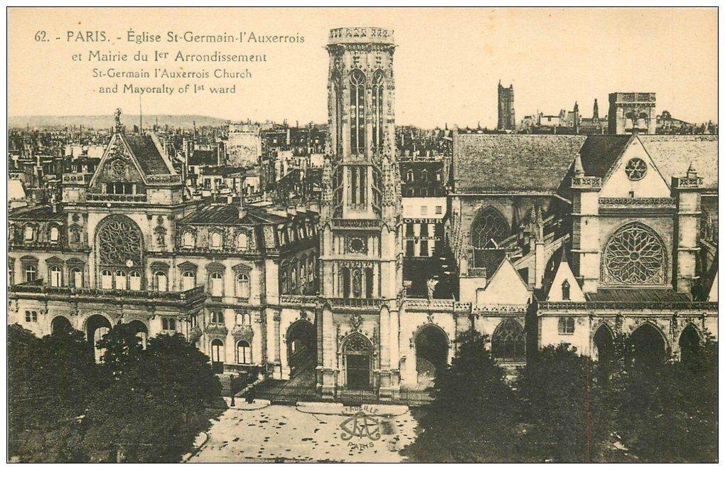 carte postale ancienne PARIS Ier. Eglise Saint-Germain l'Auxerrois et Mairie