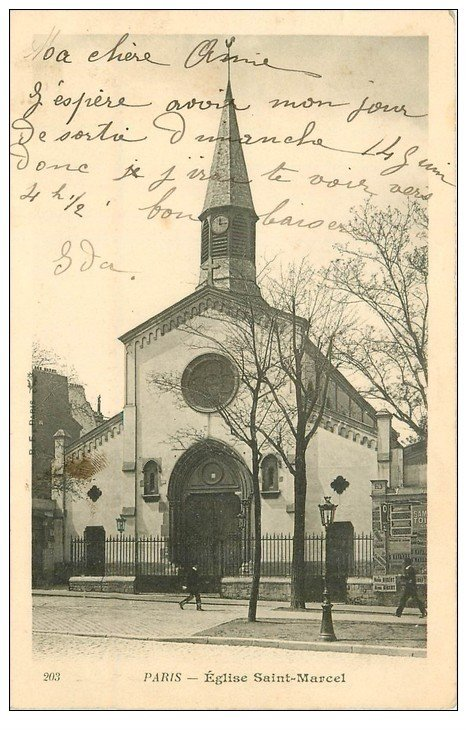 carte postale ancienne PARIS Ier. Eglise Saint-Marcel 1903