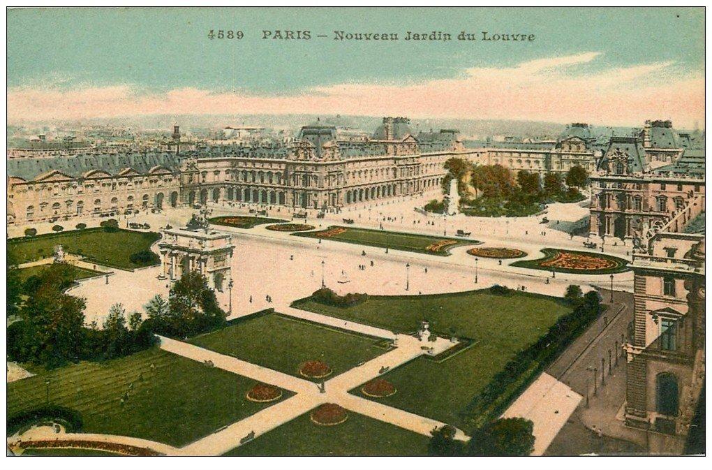 carte postale ancienne PARIS Ier. Le Musée du Louvre nouveau Jardin