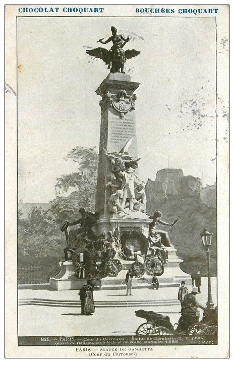 carte postale ancienne PARIS Ier. Monument Gambetta 1905. Chocolat Croquart