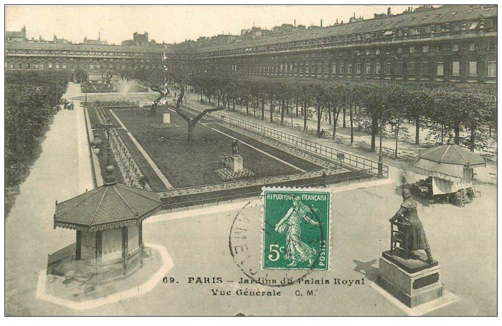 carte postale ancienne PARIS Ier. Palais Royal Jardins 1911