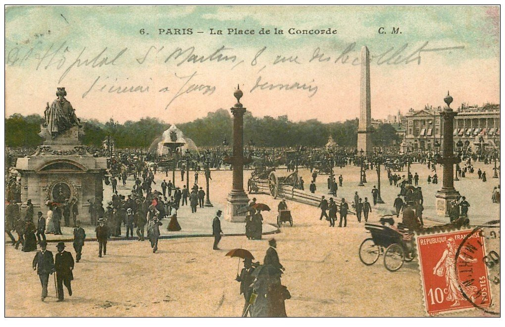 carte postale ancienne PARIS Ier. Place Concorde 1908