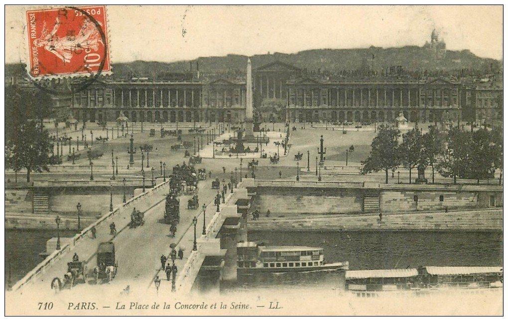 carte postale ancienne PARIS Ier. Place Concorde 1911 et Seine