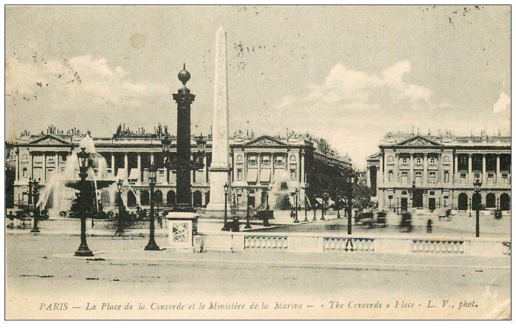 carte postale ancienne PARIS Ier. Place Concorde 1925 Ministère de la Marine