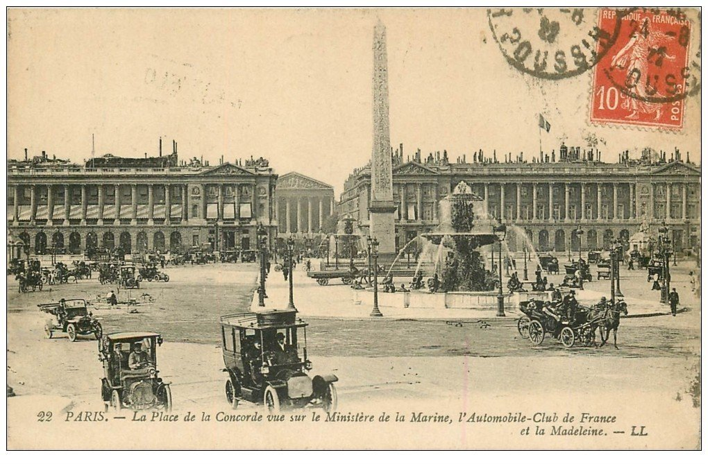 carte postale ancienne PARIS Ier. Place Concorde Automobile Club de France 1922