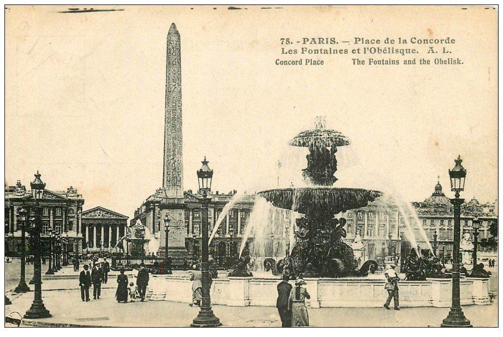 carte postale ancienne PARIS Ier. Place Concorde Fontaines Obélisque