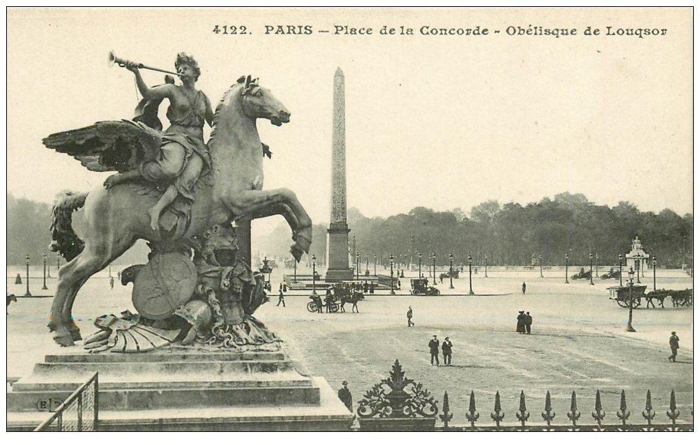 carte postale ancienne PARIS Ier. Place Concorde Obélisque de Louxor