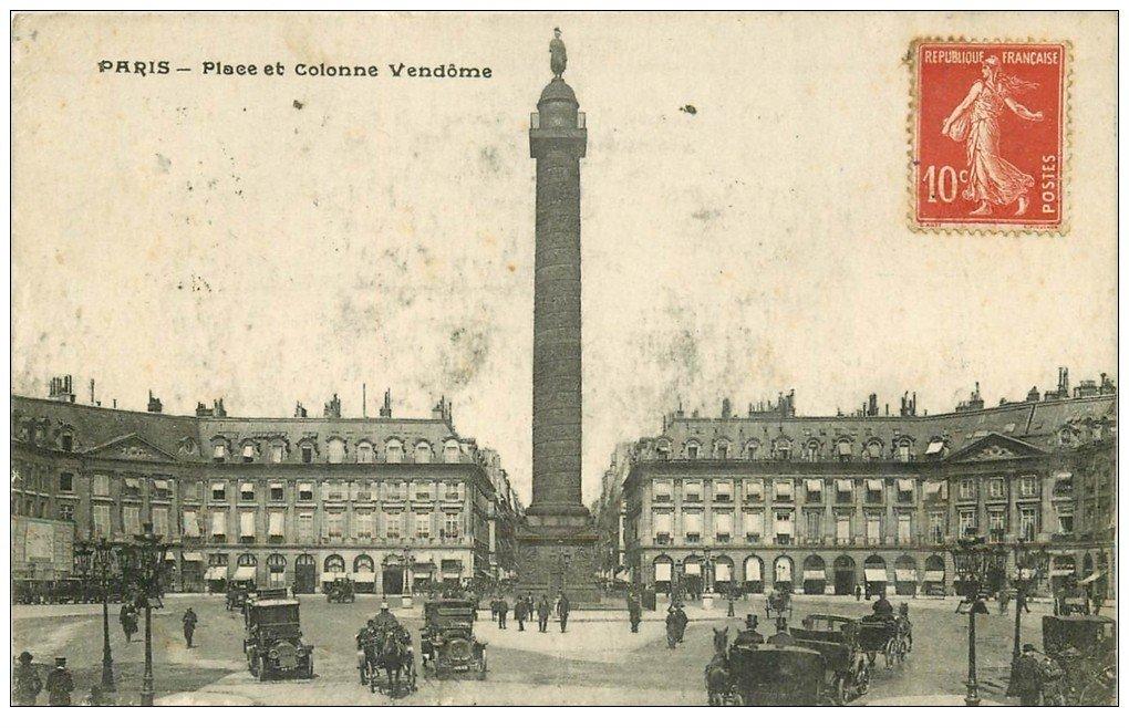 carte postale ancienne PARIS Ier. Place et Colonne Vendôme 1919