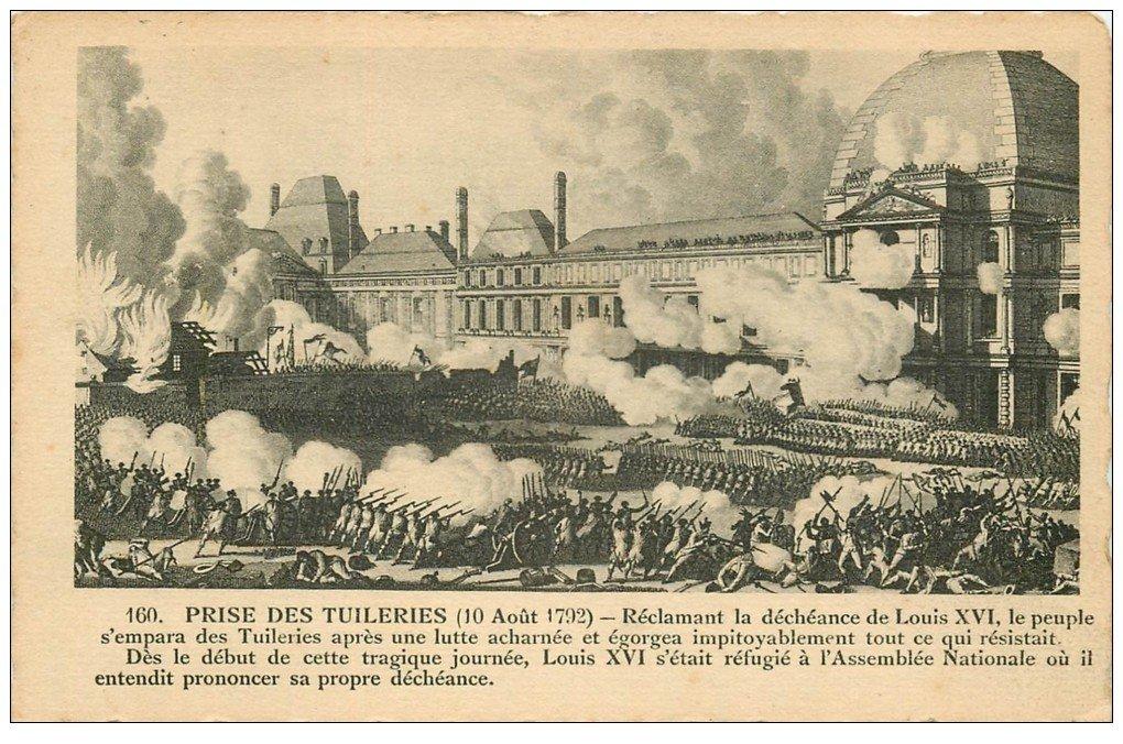 carte postale ancienne PARIS Ier. Prise des Tuileries. Bords dentelés à la ficelle