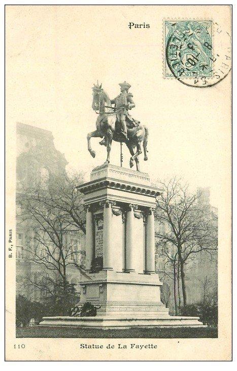carte postale ancienne PARIS Ier. Statue Lafayette 1903