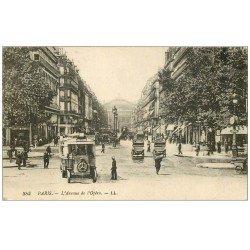 carte postale ancienne PARIS II° Avenue de l'Opéra Autobus Ford