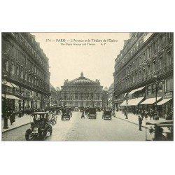 carte postale ancienne PARIS II° Avenue de l'Opéra Théâtre et Taxis