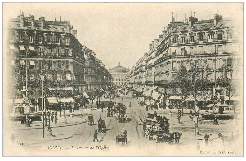 carte postale ancienne PARIS II° Avenue de l'Opéra vers 1900