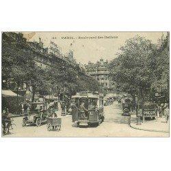"""carte postale ancienne PARIS II° Boulevard des Italiens. Autobus à Plateforme, Triporteur et Vespasiennes """""""" PICON """""""" 1917"""