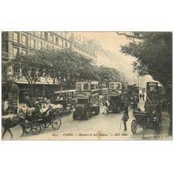 carte postale ancienne PARIS II° Boulevard des Italiens. Autobus Ford à Imperiale 1910