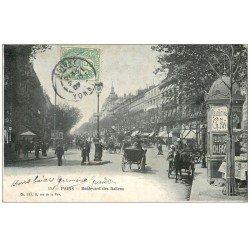 PARIS 02 Boulevard des Italiens. Kiosque à journaux Morisse 1907