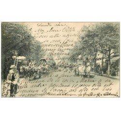 PARIS 02 Boulevard des Italiens. Superbe Hippomobile Chevaux blancs 1903