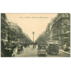carte postale ancienne PARIS II° Boulevard Montmartre Autobus à plateforme