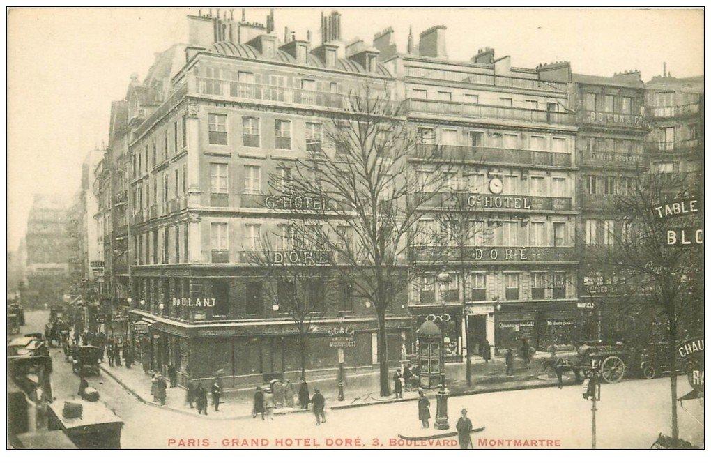 carte postale ancienne PARIS II° Boulevard Montmartre Grand Hôtel Doré