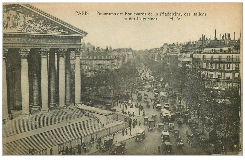 carte postale ancienne PARIS II° Boulevards Madeleine, Italiens et Capucines