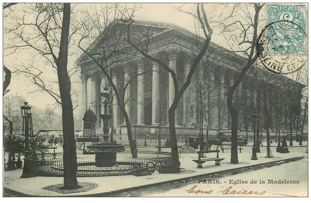 carte postale ancienne PARIS II° Eglise de la Madeleine 1902